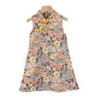 Girl's Dresses Girls Dress Summer 2021 Kids Party Sleeveless Costumes Flowers Print Sweet Outfits Children Cheongsam Vestidos 3-7T