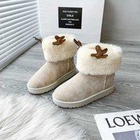 Femmes Boots Winter Nouvelle version coréenne de Mignon Elk Horn Snow Fashion Plus Velvet Chaussures de coton épais pour étudiants
