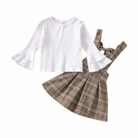 Clothing Sets Toddler Kids Spring Fall Casual Outfits Baby Girls Clothes Set White Flare Sleeve Pullover Knit Top Plaid Suspender Skirt 1-6Y