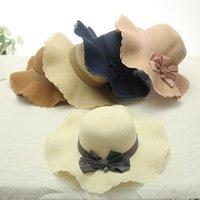 Sombreros de ala ancha sombrero de paja sombrero de sol protección de mujeres moda playa elegante vacaciones paja arco verano plegado de ala ancha