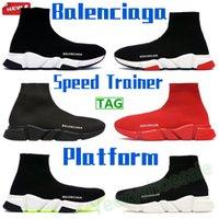 2021 Balenciaga 캐주얼 양말 신발 속도 트레이너 남성 여성 운동화 패션 플랫폼 트리플 블랙 화이트 로얄 베이지 레드 파리 남성 여성 트레이너 US 6-12