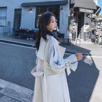 Мода женская весенняя осень осенью пальто Корейский повседневная длинная ветровка женщин для женщин Университет студент свободных пальто Tide G102 женские пальто