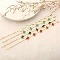 Мода дизайнер клевера браслет золота Lucky Love Bracelets эксплуатация слава богатства моды дизайн женские свадьбы партии ручной цепочки 4 цвета