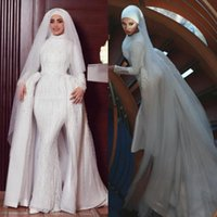 Luxury Muslim Wedding Dresses with Detachable Train 2019 High Collar Long Sleeves Beaded Court Train Bridal Gowns with Veil Plus Size
