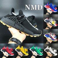 Top qualité NMD Human Race Chaussures Hommes Designer Pharrell Williams solaire pack Mère Blanc clair Sky BBC Noir Sneakers course Jaune
