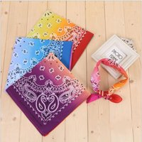 Party Decoration Tie dyed cashew square towel with gradient hip hop outdoor magic headband cotton BANDANA printed handkerchief JJA136