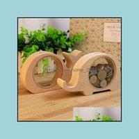 Novidade Items Décor Home Garden (4 Peças / Lote) Moda Madeira Design Animal Coin Cod Veja Doação Caixa Transparente Mesa Piggy Mesa Decoração Drop