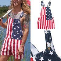 Men's Pants Flag Print Overalls Pocket Button Jumpsuit Independence Day Summer Sleeveless Man Shortses Short Homme Ete