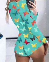 Sexy Women Designer Jumpsuits Summer Nightwear Playsuit Workout Button Skinny Butterfly Printed V-neck Short Onesies Plus Size Rompers