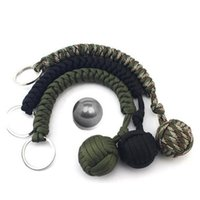 Seil geflochtene Kette Outdoor Selbstverteidigungswaffen Perlen Runde Selbstverteidigung Keychain für Frauen OOD5922