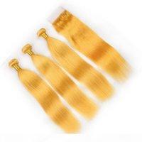 Seidiges gerades Jungfrau Brasilianisches Gelb-Gewebe-Bündel mit Top-Verschluss farbiges gelbes 4x4-Spitze-Verschlussstück mit menschlichen Haar-FEFTS