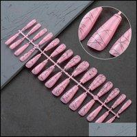 False Salon Health BeautyFalse Nails 30 шт. Длинный гроб с абстрактным художественным проектированием дизайна поддельных прессов на искусстве