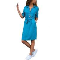 Fashion Turn-Down Kraag Office Ladies Shirt Dress Women Three Quarters Mouw Herfst Plus Size Casual Vestidos Loose robe