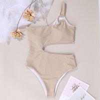 Seksi Tek Parça Mayolar Bir Omuz Mayo Kadınlar Kesip Monokini Katı Siyah Bodysuits 2021 Yeni Moda Yüzük Batherswimwear Mayo Su