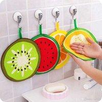 Kawaii Meyve Baskı Asılı Mutfak Havlu Mikrofiber Havlu Hızlı Kuru Temizleme Paçavra Çanak Bezi Silme Peçete Scouring Ped