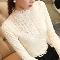 Women's Blouses & Shirts Lace Blouse For Women Thicken Warm Fleece Winter Solid Ruffles Turtleneck Office Lady Elegant Outwear Tops