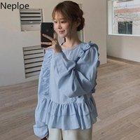 Women's Blouses & Shirts Neploe Women Kroean Sweet Round Neck Ruffles Patchwork Loose All-match Puff Sleeve White Blusas Korean Tops Mujer