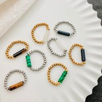 Cluster Rings Fashion Punk Natural Stone For Women Crystal Tiger Eye Opal Gothic Stainless Steel Ring Adjustable Jewelry Accessories