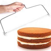 더블 라인 스테인레스 스틸 조정 가능한 와이어 케이크 커터 슬라이서 레벨러 DIY 케이크 베이킹 도구 고품질 주방 액세서리