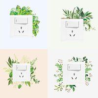 Wall Stickers Nordic Green Leaf Art Switch Sticker Creative Socket Beautification Decorative Diy