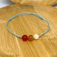 Charm Bracelets Women Thread Handmade 6mm Carnelian Jewelry Girl Yellow Natural Stone Bead Bracelet On Hand Gift Girlfriend