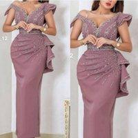 새로운 도착 V 넥 스트레이트 이브닝 드레스 긴 카피 족 마리아지 크리스탈 구슬 이브닝 가운 vestidos formules 두바이 드레스