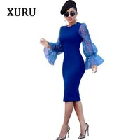 Casual Dresses XURU Women Beading Pencil Dress O Neck Flare Sleeve Mesh Patchwork Bodycon Evening Party Office Lady