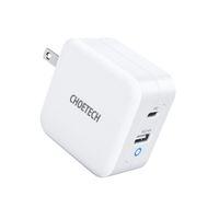 Choetech C USB Charger 65W PD 3.0 Gan Wall Charging 2-Port محول محمول (كابل غير مدرج) 35٪ أصغر من مصدق TUV الأصلي - أبيض