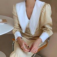 Casual Dresses VANOVICH Korean Style Women Dress 2022 Autumn Cotton Fashion Ladies Lapel Stitching Lace High Waist Clothing