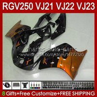 OEM Bodywork para Suzuki RGV250 VJ21 RGVT RGV 250CC 250 CC 88 89 Cuerpo 21HC.174 Naranja Llamas RGV-250CC RGV-250 VJ-21 Panel RGVT-250 VJ 21 RGV250C SAPC 1988 1988 1988 Kit de carenario