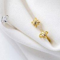 Orecchini all'ingrosso orecchini di alta qualità 925 argento sterling singolo pietra orecchini disegni mini croce fiore signora gioielli monili marocchini