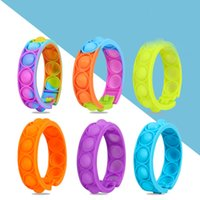 DHL Navio Fidget Bracelet Reliver Reliver Stress Brinquedos Arco-íris Push Bolha Antistress Toy Adulto Crianças Sensory Para Aliviar o Autismo