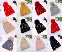 Girls Knitted Pompon Hat Ski Warms Party Hats Pearl Crochet Knitting cap Winter Miss keep Warm Caps DD539