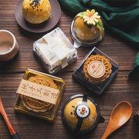 50pcs 63 / 100g carré Cake Cake Cake Black / Gold MoonCake Boîte de conteneur Porte-conteneur Mid-Automne Festival Cadeau Y0712
