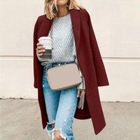 Women's Wool & Blends Thin Faux Coat Women Fashion Long Sleeve Turn-down Slim Overcoat Outwear Casual Autumn Winter
