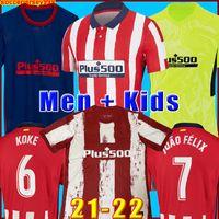 Atlético de futebol Jersey 21 22 João Félix Madrid 2021 2022 M. Llorente Koke Saul Godin Diego Costa Camiseta Camisas de futebol Fardos Homens + Kids Kit