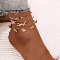 Anklets Simple Acrylic Butterfly English Pendant Ankle Bracelet Foot Ornaments Multicolored Tassel Anklet 3 Sets