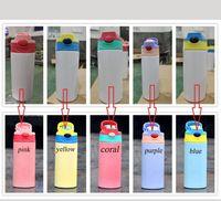 Новый 12 ультрафиолетовое изменение цветов, изменяющее тонкий тонкий тонкий тумблер Sippy чашки детские кружки из нержавеющей стали, детская бутылка с двойной стеной вакуумной кормления