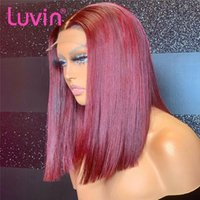 Lace Wigs Luvin 99J Burgundy Short Bob Wig Straight Colored Human Hair T Part Front For Women Dark Red