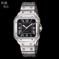 Quality Large Size Black Face Automatic Men's Watch Silver Dial 40mm Bezel Stainless Steel Mens Wristwatchs