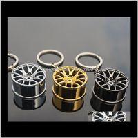 Key Rings Jewelryarrival High Quality Wheel Rim Model Round Keyrings Car Keychain Ps0932 Drop Delivery 2021 Nszem