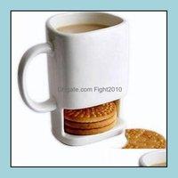 Sets Drinkware Kitchen, Dining Bar & Gardenceramic Mug Set White Coffee Biscuits Milk Dessert Cup Tea Cups Side Cookie Pockets Holder For Ho