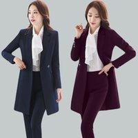 Women's Two Piece Pants High quality fabrics Autumn winter women blazers uniform women's social design office suits with long windbreaker B3JU