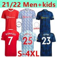 Ronaldo Size: S-4XL 21 22 سانشو مانشستر لكرة القدم الفانيلة United Bruno Fernandes Martial Utd Pogba Rashford Football Shirt Man + Kids Lindelof Maguire James