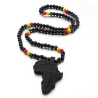 Voq Arrivo Africa Mappa Collana per uomo e donna Pendente in legno String String Hip Hop Jewelry