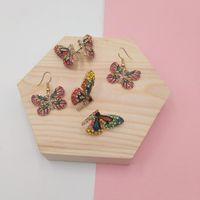 Earrings & Necklace Fairy Tale Rhinestone Butterfly Jewelry Set Colorful Wing Bracelet Lace Choker Wedding Gift