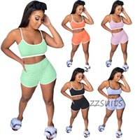 Pit Strip Suspender Shortsuits Summer Sumersuits 2 Two Piece Set Solid Color Spaghetti Gilet Cropped Top Slim Casual Home Sport Supply Gym Yoga Jogging Vêtements