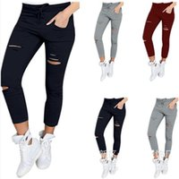 Womens Plus Size Pants Solid Color Drawstring High Waist Pencil Ripped Skinny Leggings Elastic Sexy Thin-Section Women