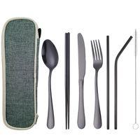 Roestvrij staal servies draagbare één persoon mes vork lepel 7-delige set stro vierkante eetstokjes reizen set