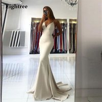 Ivory Mermaid Long Formal Evening Dresses Spaghetti Strps V Neck Backless Pleated Party Gown Plus Size Prom Dress